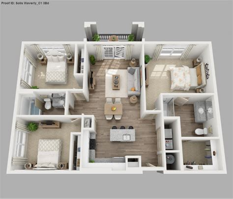 apartment 3 bedroom solis apartments floorplans waverly