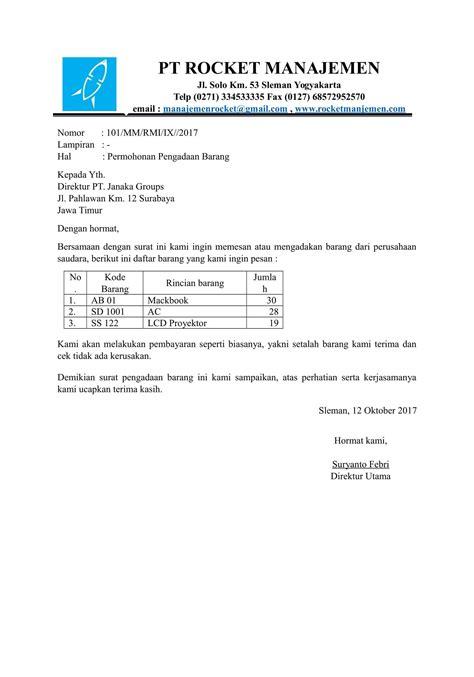 Contoh Surat Penawaran Dan Pemesanan Barang Elektronik by Contoh Surat Permintaan Barang Kotasurat