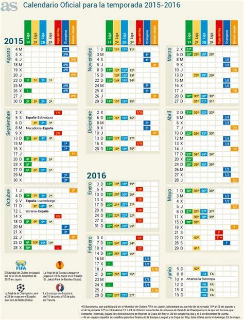 Calendario De Todas Las Ligas De Futbol Calendario Oficial De La Temporada 2015 2016 Liga Bbva