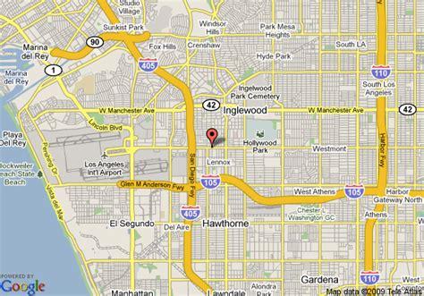 inglewood california map map of westfield inn at lax inglewood inglewood