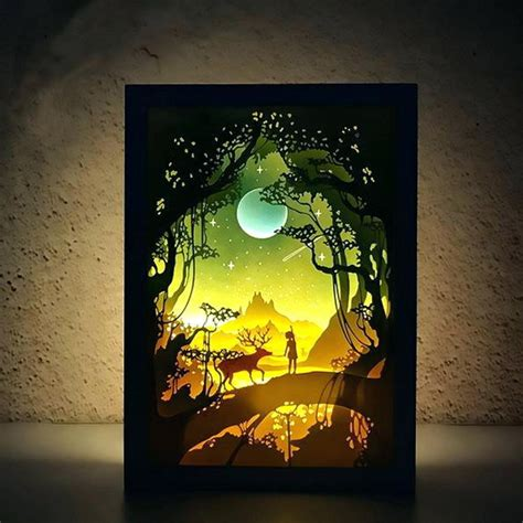 Paper Shadow Box Studio Castle In The Sky Handmade Craft Night Light Artwork Frame Decoration My Shadow Box Template