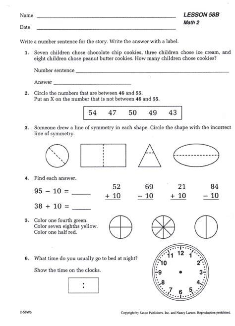 Saxon Math Worksheets by Saxon Math 65 Tests And Worksheets Pdf Saxon Math 54