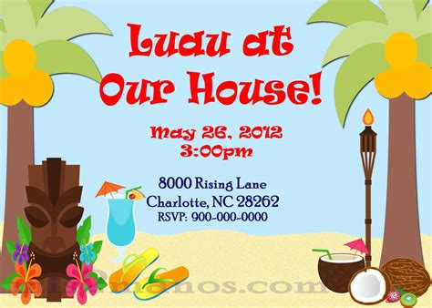 luau invitation template mis 2 manos made by my luau invitations