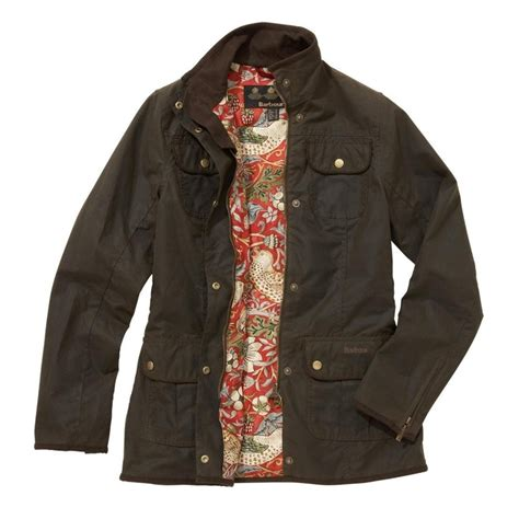womens barbour waxed cotton utility jacket barbour barbour waxed cotton with william morris print lining