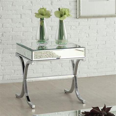 mirrored end table acme mirrored top chrome end table