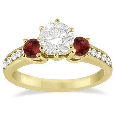Ruby 3 45ct three garnet engagement ring 18k yellow