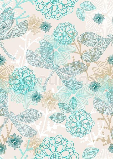Muster Hintergrund Abstrakte Zeichnung Hintergrund Nahtlose Muster Mit Blumen Und Libelle F 252 R Tapete