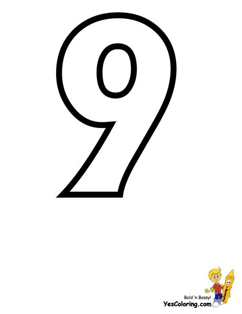 coloring page of number 9 standard letter printables free alphabet coloring page