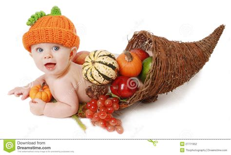babys thanksgiving fall thanksgiving baby in a cornucopia stock photography