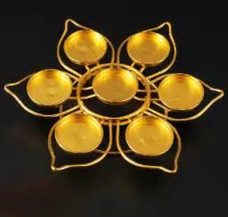 Lotus Shaped Candle Holders Golden Lotus Shape 7 Candles Holder 20 20 4cm Metal Craft