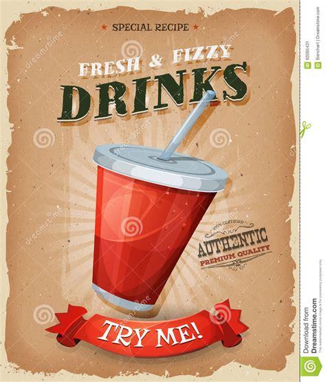 poster design for drink grunge and vintage drinks and beverage poster stock vector