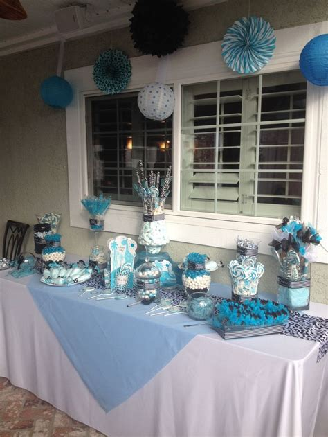 Black And Blue Baby Shower by Blue Black And White Baby Shower Table Baby