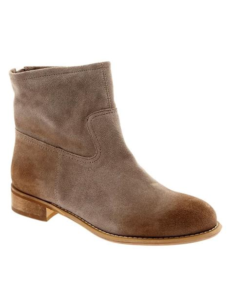 gap boots gap suede zipped booties in brown iced taupe lyst