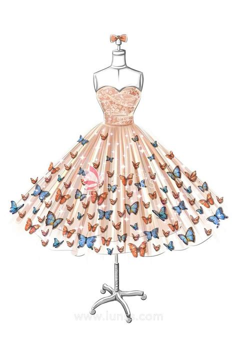 sketch  strapless sweetheart butterfly embellishments