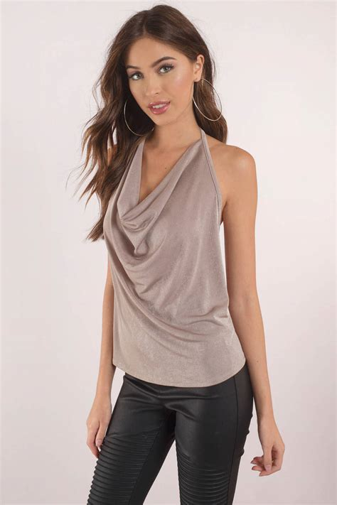 Neck Top brown tank dressy cowl neck top open back halter top