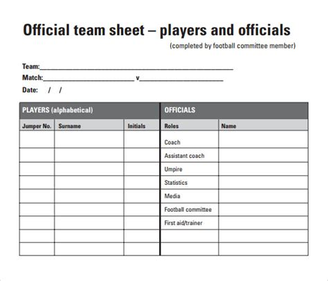 soccer stat sheet template 9 football score sheets free sle exle format