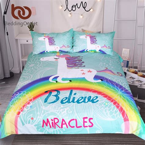unicorn bedding for kids beddingoutlet unicorn bedding set believe miracles cartoon