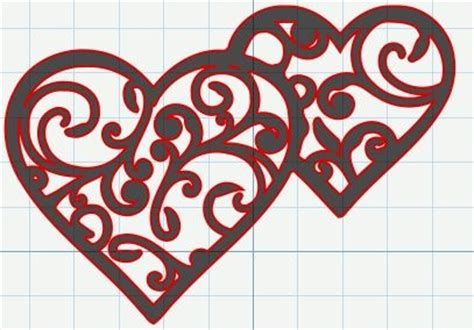 free svg file – filigree swirly hearts for valentine's day