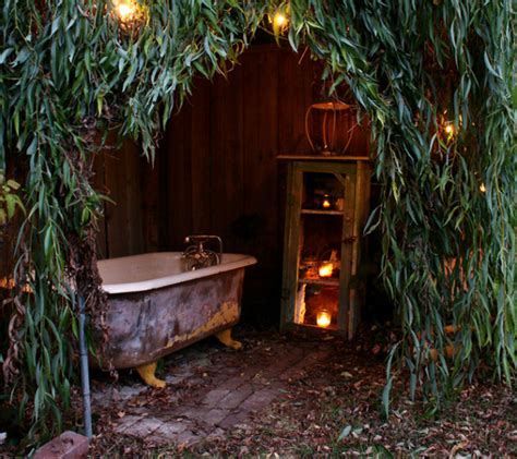 outdoor bathtub bathed in starlight with an outdoor cast iron bath cast