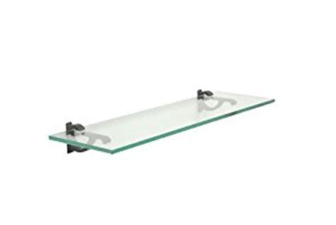 clear floating glass shelf 6 quot x 18 quot in black