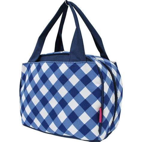 Print Insulated Lunch Bag plaid checkered pattern print insulated lunch tote bag