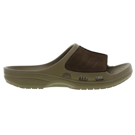Crocs Yukon Slide crocs yukon mesa slide mens brown leather comfort sandals size uk 7 12
