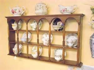 wood 3 tier display teacup saucer curio wall shelf cups