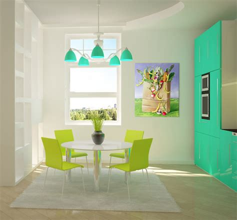 seafoam and lime green kitchen panda s house