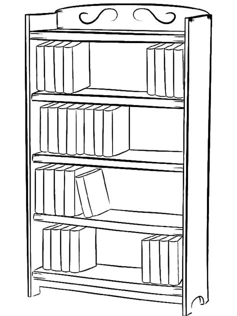 bookshelf sketch bookcase with books coloring pages