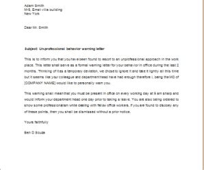 warning letter for unprofessional behaviour | word & excel