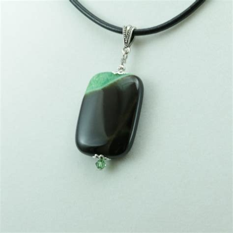 Green Agate Pendant Necklace photo engraved pendant necklace green and black agate