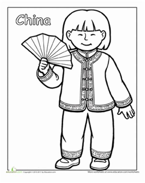 multicultural coloring pages preschool multicultural coloring china worksheet education com