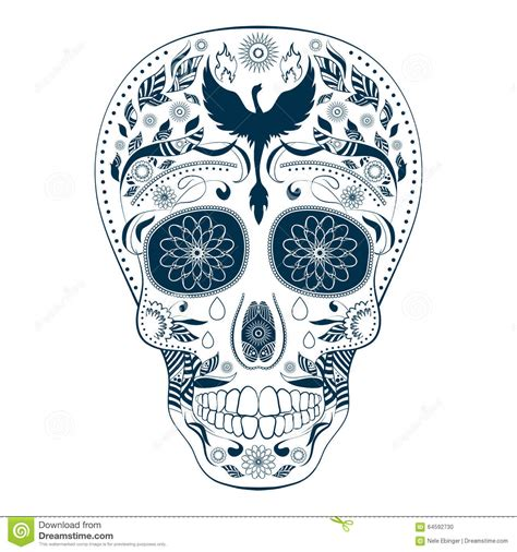 dia de muertos tattoo skull ornate day of the dead stock