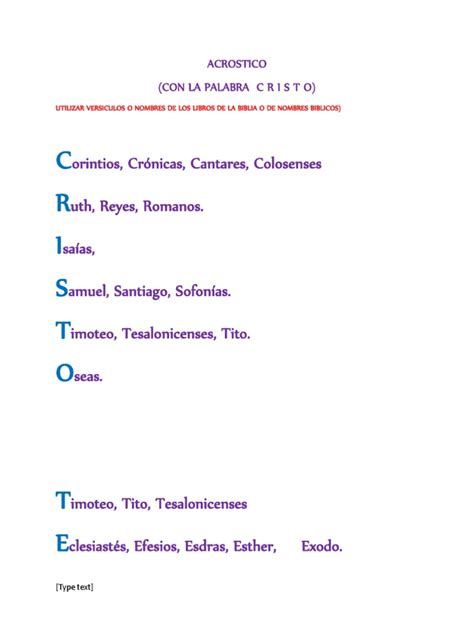 acrostico con la palabra sunat acrostico con la palabra cristo docx