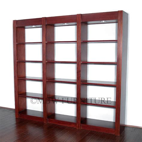 8ft cherry lighted 15 tier open bookcase or display
