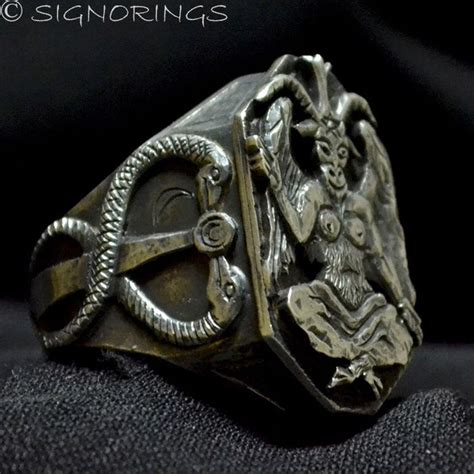 illuminati goat illuminati baphomet sabbatic goat ring sterling silver