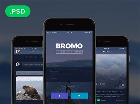 home design app free bromo social mobile app template freebiesbug