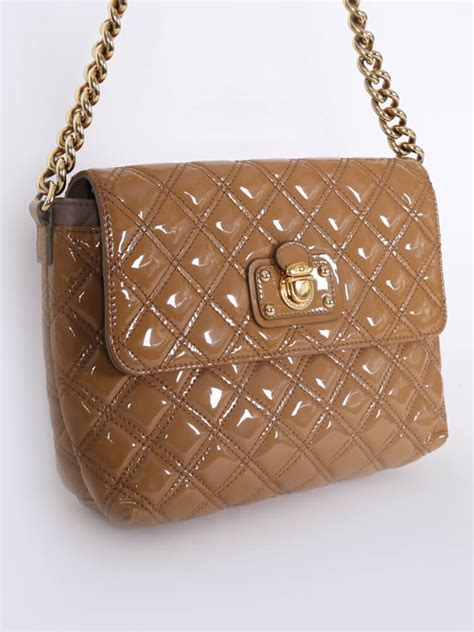 Marc Bonnie Quilted Leather Handbag by Marc Quilted Patent Leather Chain Shoulder Bag