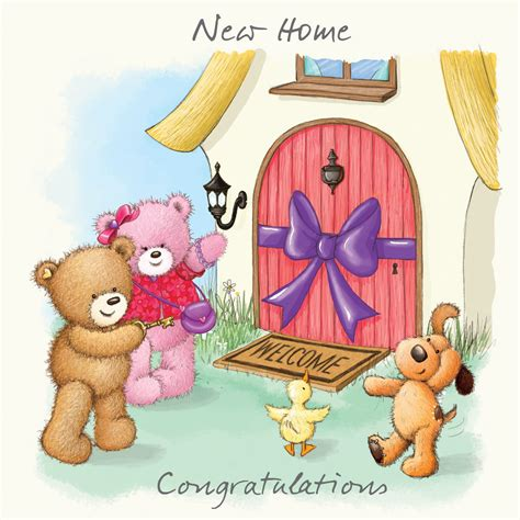 happy in your home birthday bear with pink balloon happy birthday card