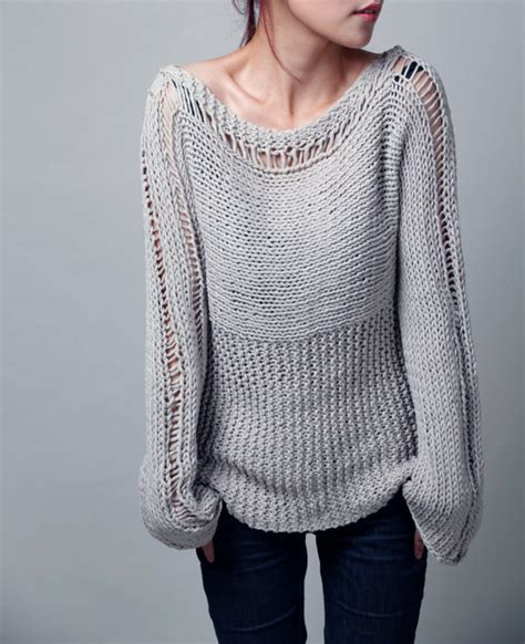 Hand Knit Woman Sweater Eco Cotton Sweater Light Grey Ready How To Make Sweaters With Lights