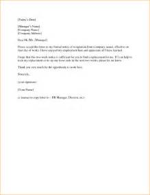 Notice Letter For Resignation by 6 4 Week Notice Resignation Letter Basic Appication Letter