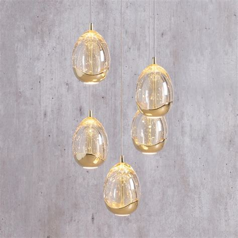 tegg 5 light led spiral cluster ceiling pendant light gold