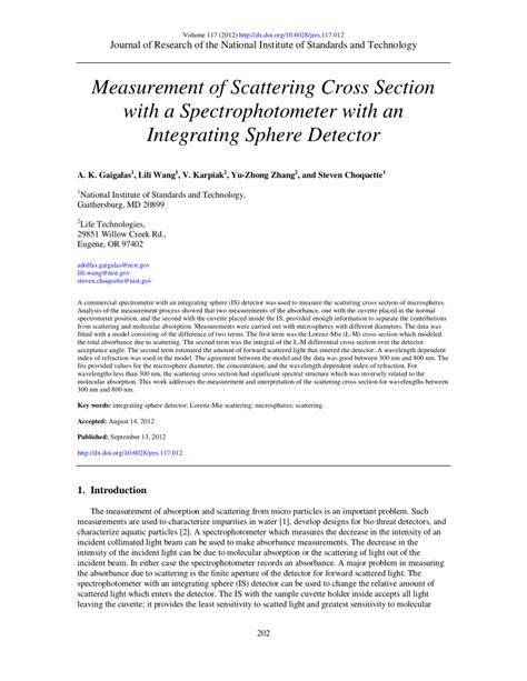 scattering cross section pdf measurement of scattering cross section with a spectrophotometer with an integrating sphere