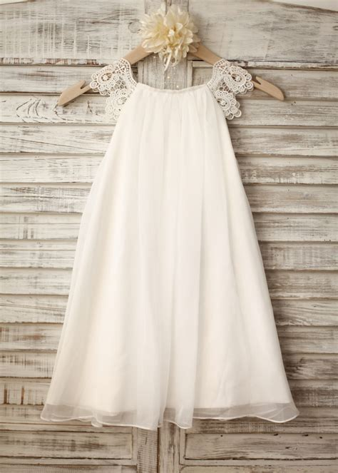 sheath chiffon lace cap sleeve flower girl dress