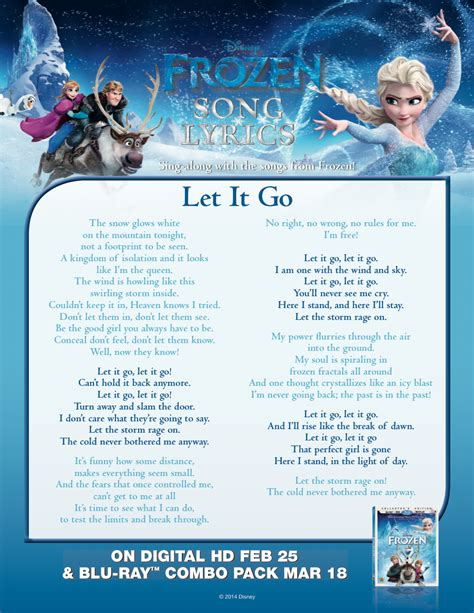 2013 film queen who sings let it go frozen let it go lyric sheet frozen photo 36756147