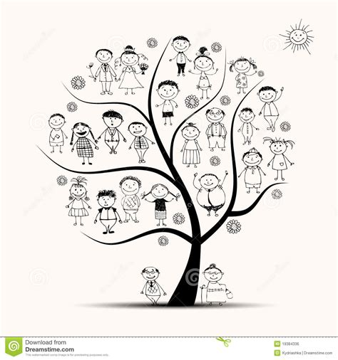 Family Tree Relatives People Sketch Stock Vector Illustration Of Nature Conservation 19384336 Stock Vector Family Tree Template With Portraits Of Relatives And Place For Text On Green
