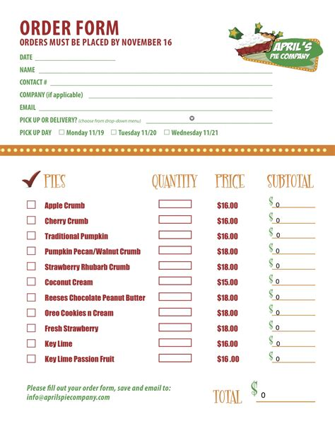 menu order form template delicious media for april s pie company with markit