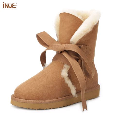 Genuine Leather Lace Up Snow Boots inoe genuine sheepskin leather fashion lace up