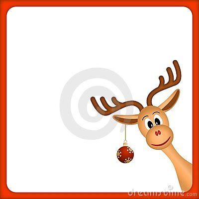 christmas reindeer  empty frame  red border royalty  stock images image
