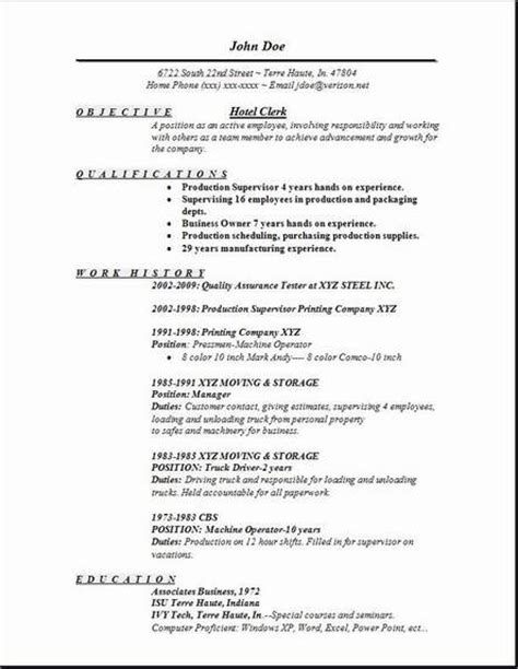 Hotel Resume hotel clerk resume occupational exles sles free